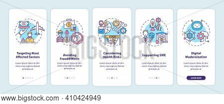 Economic Recovery Program Principles Onboarding Mobile App Page Screen With Concepts. Propping Up Ec