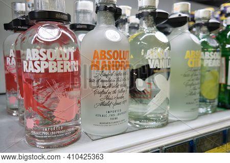 Bottles Of Absolut Vodka. Different Kinds Of Absolut Vodka In Supermarket. Mersin, Turkey - December