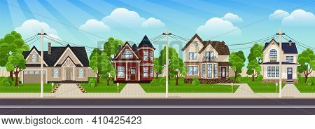 Residential Houses. Suburban Village Flat Design Cityscape. Colorful Houses In Suburb Neighborhood.