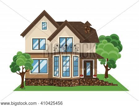 Colorful Flat Residential House. Village House. House Front Cartoon Vector Illustrations
