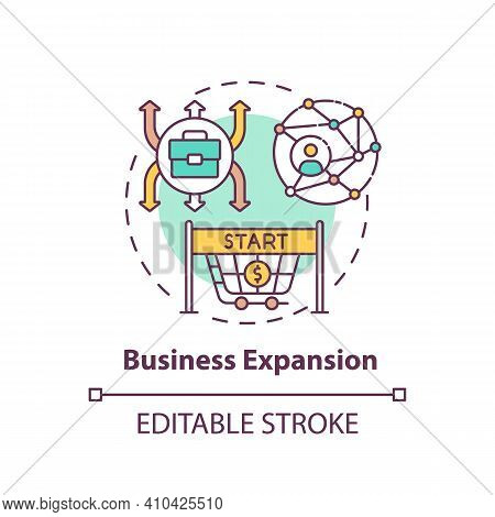 Business Expansion Concept Icon. Generating Profit Idea Thin Line Illustration. Sales Employees. Bus