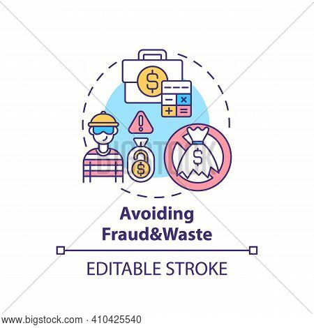 Avoiding Fraud And Waste Concept Icon. Prevention Strategies Idea Thin Line Illustration. Statistics