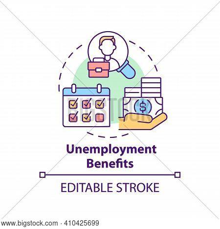 Unemployment Benefits Concept Icon. Temporary Income Idea Thin Line Illustration. Lose Job. Lost Ear