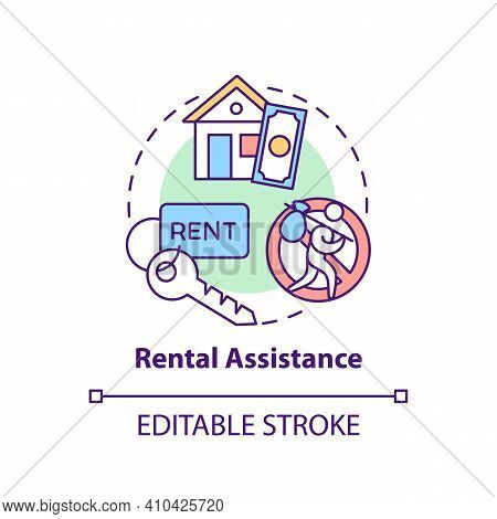 Rental Assistance Concept Icon. Rental Subsidy Idea Thin Line Illustration. Assist Tenants With Util