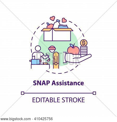 Snap Assistance Concept Icon. Program Working To Fight Hunger Idea Thin Line Illustration. Supplemen