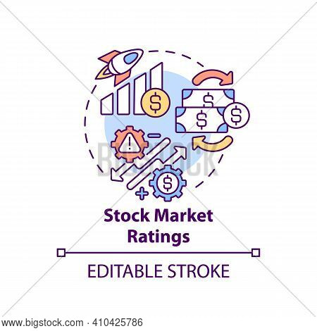 Stock Market Ratings Concept Icon. Securities And Financial Analyst Idea Thin Line Illustration. Man