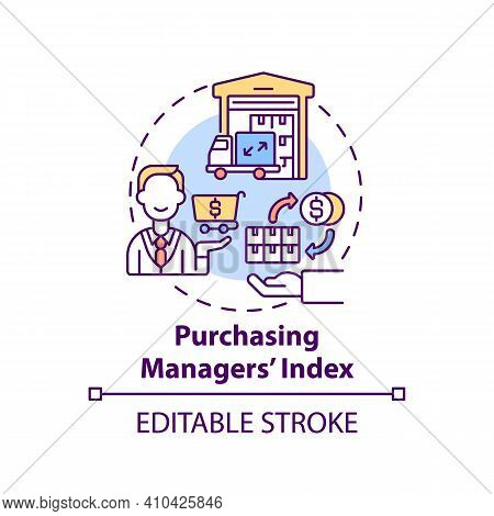 Purchasing Manager Index Concept Icon. Direction Of Economic Trends In Sectors Idea Thin Line Illust