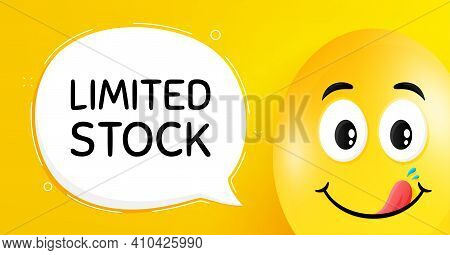 Limited Stock Sale. Easter Egg With Yummy Smile Face. Special Offer Price Sign. Advertising Discount