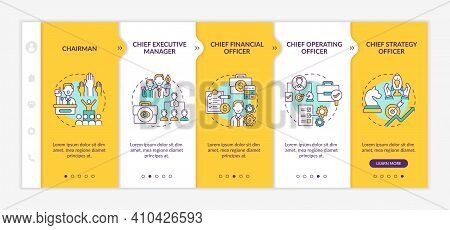 Top Management Positions Onboarding Vector Template. Chief Executive Manager And Financial Officer.