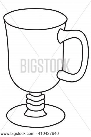 Stylish Hand-drawn Doodle Cartoon Style Hot Warm Winter Irish Coffee Grog Mulled Wine Cocktail Glass