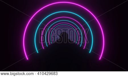 3d Rendering, Glow Lines, Tunnel, Neon Lights, Virtual Reality, Abstract Backgrounds, Sphere Portal,