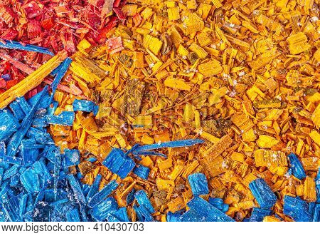 Background Is Made Of Decorative Colorful Splinter. Wood Texture