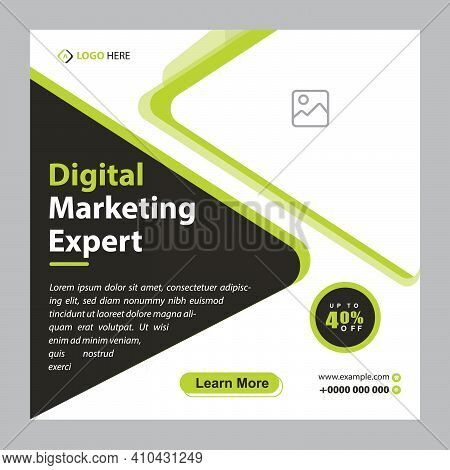 Digital Marketing Social Media Post Template, Digital Marketing Agency, Square Flyer Template,  Digi