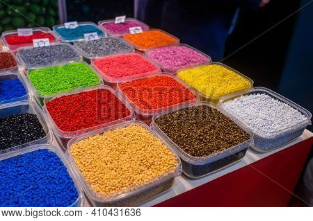 Plastic Recycling, Renewable Resource - Heap Of Colorful Secondary Polystyrene, Polyethylene, Polypr