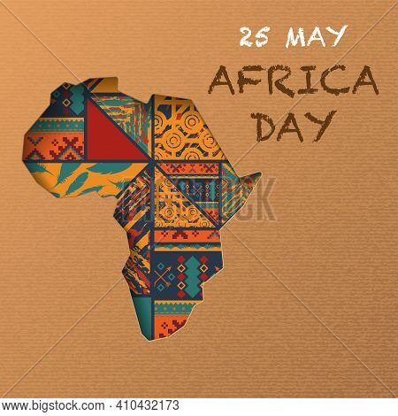 African Continent Silhouette Isolated On Craft Paper Background With Boho Pattern. Africa Day Backgr