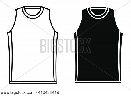 Basketball Player T Shirt Icon. Sports Uniform Of Basketball Player. Layout Of Athletes On Field. Ve
