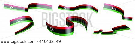 Set Of Holiday Ribbons. Libya Flag Waving In Wind. Separation Into Lower And Upper Layers. Design El