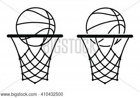 Basketball Icon With Ring, Hoop And Net. Sports Competitions In Basketball On Street And In Gym. Vec