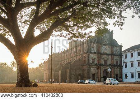 Basilica of Bom Jesus or Borea Jezuchi Bajilika in Old Goa, India. Basilica is a UNESCO World Heritage Site.