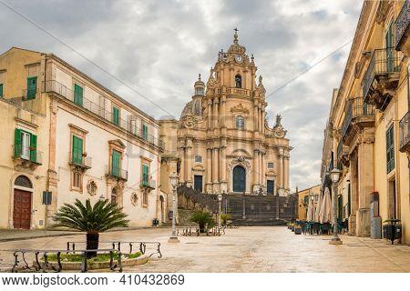 The Duomo of San Giorgio church at empty Duomo square in Ragusa Ibla, Sicily, Italy.