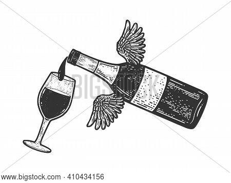 Flying Bottle Pours Wine Into Glass Sketch Engraving Vector Illustration. T-shirt Apparel Print Desi