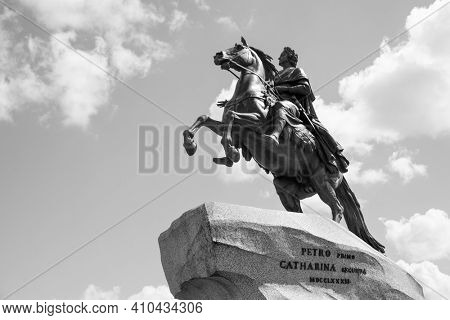 The Bronze Horseman by Falconet (1782) - Equestrian statue of Peter the Great in the Senate Square in Saint Petersburg, Russia. Black and white photography