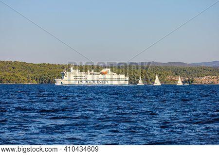 Brac, Croatia - October 1, 2011: View Of A Local Ferry Close To Brac In The Adriatic Sea