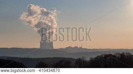 Temelin, Czech Republic - 02 28 2021: Nuclear Power Plant Temelin, Cooling Towers With White Water V