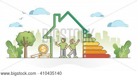 Energy Efficient House With Ecology Class Rating Diagram Outline Concept