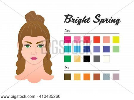 12 Seasons Color Types For Woman - Bright Spring Type. Perfect Color For Your Wardrobe. Do And Do No
