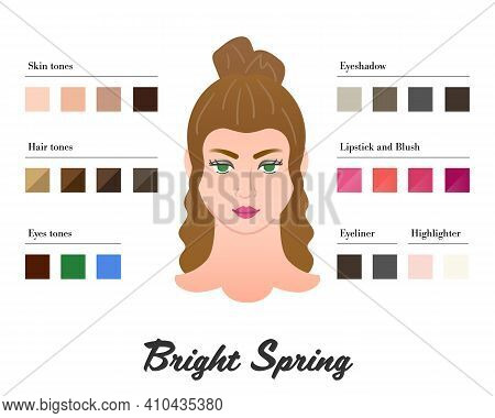 Women Color Types Analysis - Bright Spring Type. Characteristics Of Colortype And Best Palette For M