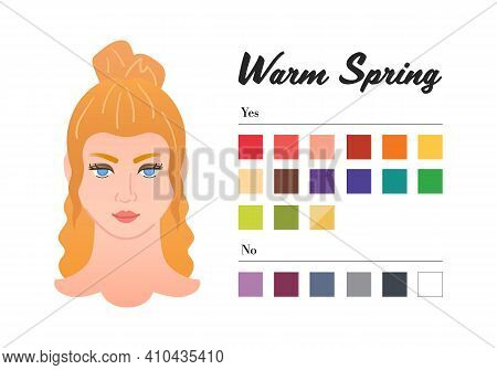 12 Seasons Color Types For Woman - Warm Spring Type. Perfect Color For Your Wardrobe. Do And Do Not