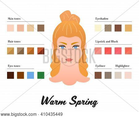 Women Color Types Analysis - Warm Spring Winter Type. Characteristics Of Colortype And Best Palette