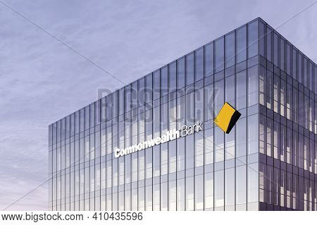 Sydney, Australia. February 19, 2021. Editorial Use Only, 3d Cgi. Commonwealth Bank Signage Logo On