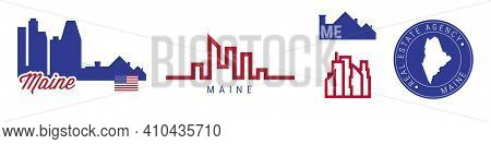 Maine Real Estate Agency. Us Realty Emblem Icon Set. Flat Vector Illustration. American Flag Colors.
