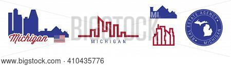 Michigan Real Estate Agency. Us Realty Emblem Icon Set. Flat Vector Illustration. American Flag Colo