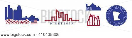 Minnesota Real Estate Agency. Us Realty Emblem Icon Set. Flat Vector Illustration. American Flag Col