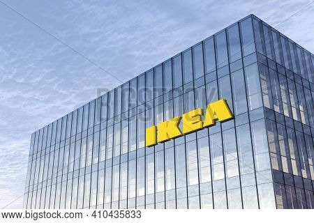 Delft, Netherlands. February 25, 2021. Editorial Use Only, 3d Cgi. Ikea Signage Logo On Top Of Glass