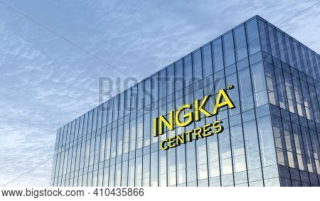 Leiden, Netherlands. February 25, 2021. Editorial Use Only, 3d Cgi. Ingka Holding Signage Logo On To