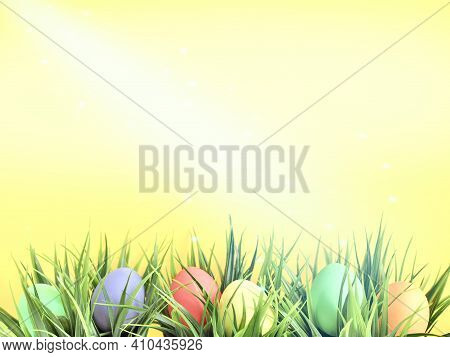 Easter Painted Eggs Of Light Pastel Tones Lie In Green Grass. Easter Eggs Hunting. Happy Easter. Gre