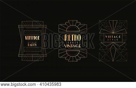 Retro Party Cards Set, Luxury Gold And Black Art Deco Style Invitation, Poster, Banner, Flyer Vintag