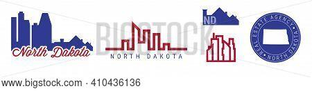 North Dakota Real Estate Agency. Us Realty Emblem Icon Set. Flat Vector Illustration. American Flag