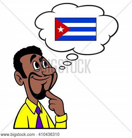 Man Thinking About Cuba - A Cartoon Illustration Of A Man Thinking About A Vacation Trip To Cuba.