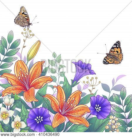 Hand Drawn Blooming Orange And Purple Garden Flowers And Butterflies On White Background. Vector Ele