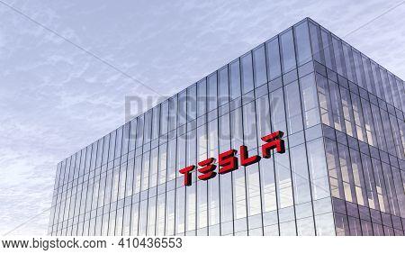 Palo Alto, California, Usa. February 17, 2021. Editorial Use Only, 3d Cgi. Tesla Signage Logo On Top