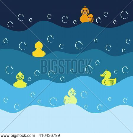 Background With Yellow Toy Ducks And Bubbles. Colored Vector Illustration In Blue Tones.