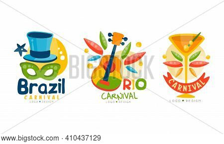 Brazil Carnival Logo Templates Set, Colorful Festival Emblems With Traditional Dance Carnival Show S