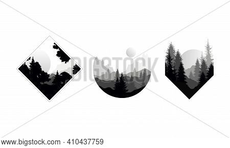 Set Of Beautiful Monochrome Landscapes In Geometric Shapes, Mountain Scenes With Silhouettes Of Coni