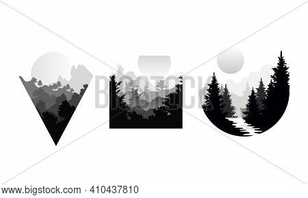 Set Of Beautiful Landscapes In Geometric Shapes, Black And White Mountain Landscape With Silhouettes