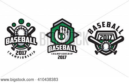 Baseball Championship Logo Design Set, Tournament, Sport Team, Club Identity Retro Badges Vector Ill